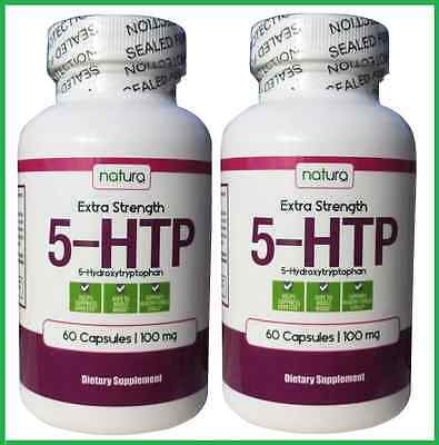 2x DOUBLE STRENGTH 5-HTP 100 mg 120 Capsules by Natura - Mood, Sleep AUS STOCK