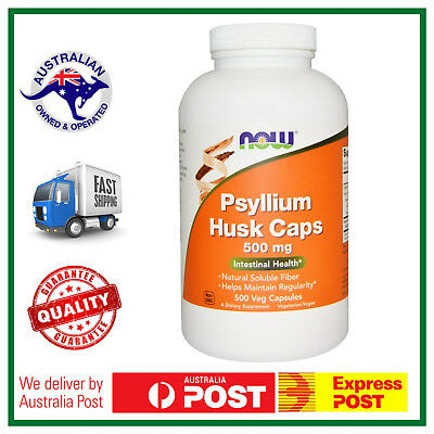 NOW Foods Psyllium Husk Caps 500mg 500 Capsules - Intestinal Health - AUS STOCK
