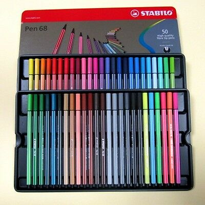 Stabilo Pen 68 Box In Metall Da 50 Stücke Assorted Speerspitze Faser 1 Mm