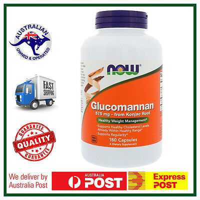 NOW Foods Glucomannan (Konjac Root) 575mg 180 Caps - Healthy Weight - AUS STOCK