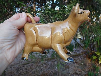 Vintage Brown Pottery Ceramic Cow Creamer With Metal Bell