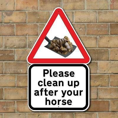 CLEAN UP AFTER YOUR HORSE SIGN, Stable Keep Clean Sign, Pick up your Droppings