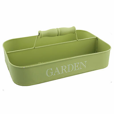 Metal Garden Caddy Tidy Tray with Handle Plants Gardening Tools Carry Storage