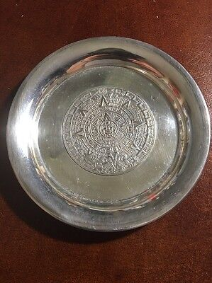 Mex S.A. 925 Sterling Silver Aztec Calendar Mexico Tray Coin Dish