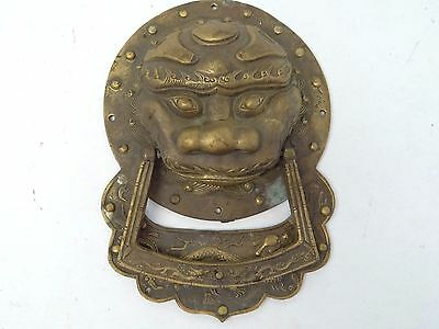 Antique Old Cast Brass Chinese Samurai Mask Dragon Front Door Knocker Hardware