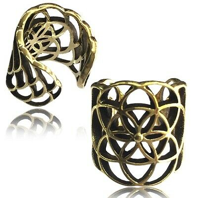 Flower Of Life Tribal Brass Ear Cuff Ethnic Dreadlock Bead Dread Beads Ring Ear