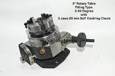 "HEAVY DUTY  ROTARY TABLE 3"" with 65mm LATHE CHUCK FOR MILLING  MACHINES"