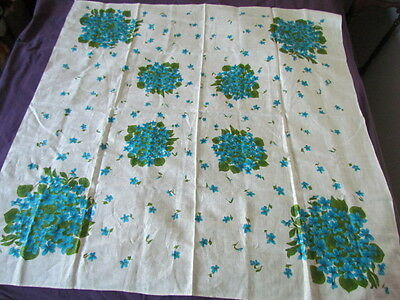 Tablecloth Vintage 50th Printed Floral Abstract Collectible Linen new Turquoize