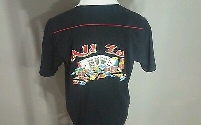World Series of Poker Men's L Bowling Style Shirt All In Chips Cards