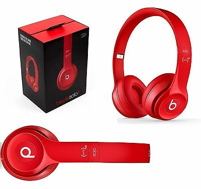 Genuine Beats Solo 2 By Dr Dre HD Wired On Ear Headband Headphones Headset Red