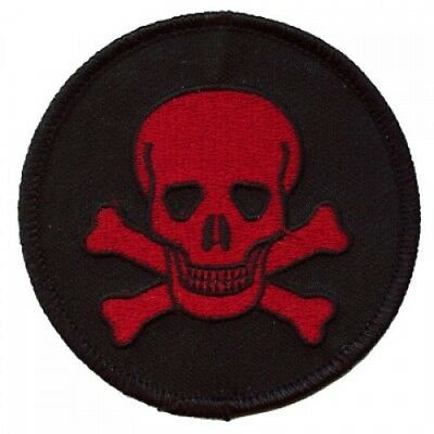 SKULL PATCH *RED ON BLACK* -  outlaw biker punk heavy metal psychobilly