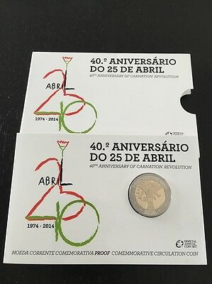2 Euro Coincard BE Portugal 2014 25 Avril (40 anniversaire) Neuf PROOF