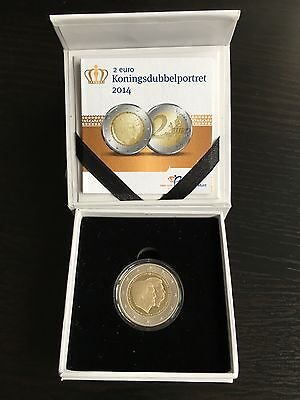 2 Euro BE Pays Bas 2014 Hollande Netherland PROOF Double Portrait Ecrin 3000 Ex