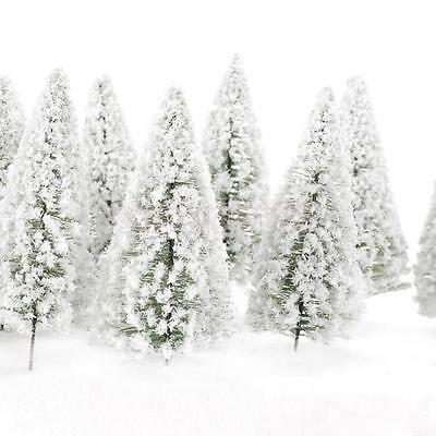 10 Model Pine Trees White Snow Winter Forest Train Railway Scenery
