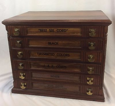 Antique Walnut J&P Coats Six-Drawer Spool Cabinet Original Hardware Exc Cond