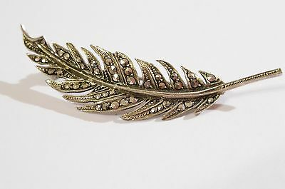 Sterling Silver And Marcasite Leaf Brooch