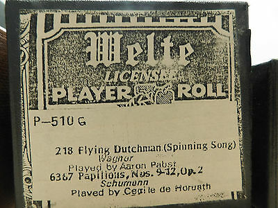 Welte Mignon Piano Roll P510G 218 Flying Dutchman Played By Aaron Pabst