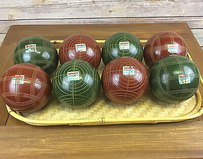 Vintage Sportcraft Bocce Ball Set of 8 Rust/Brown Green No Jack Italy