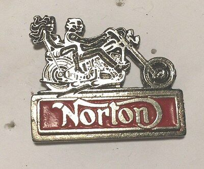 Vintage Sculpted Norton Motorcycle with 2 Riders P old metal badge