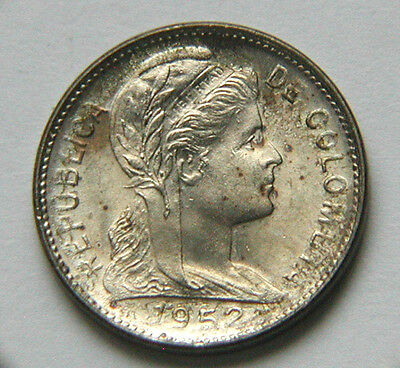 1952 B COLOMBIA Nickel-clad Steel Coin - 1 Centavo - AU++ toned-lustre