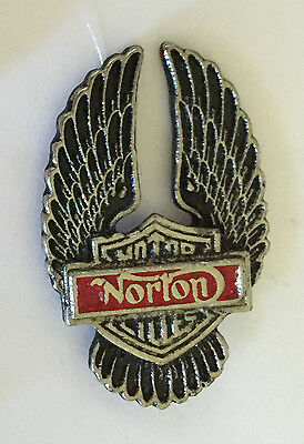 Vintage Sculpted Norton Winged Shield P Motorcycle Old Metal Badge