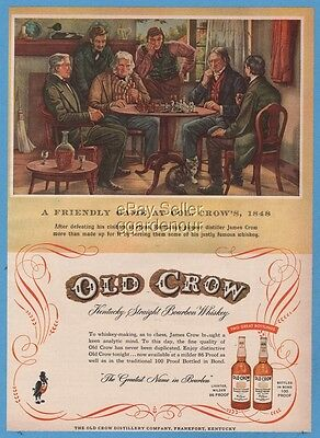 1954 Old Crow Kentucky Bourbon Whiskey Frankfort KY Friendly Game of Chess Ad