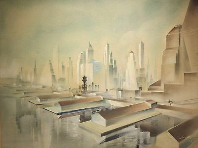 Leon Saulter 1936 Art Deco New York City NYC  cityscape painting WPA artist