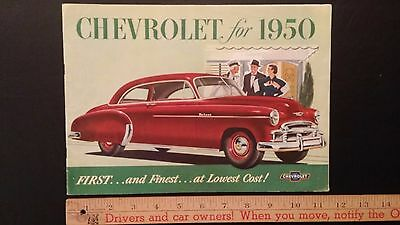 "1950 CHEVROLET  ""First and Finest"" Color Dealer Sales Catalog Brochure  G+ (USA)"