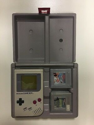 Nintendo Gameboy Original W/ 4 Games & Gray Protector Case By Nuby Manufacturing