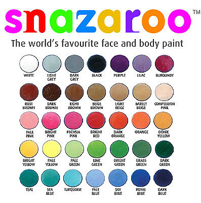 18ml SNAZAROO FACE + BODY PAINTS Stage Make-Up All Colour Theatrical Fancy Dress