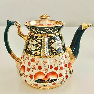 Victorian Gaudy Welsh-inspired teapot, Mid-Victorian