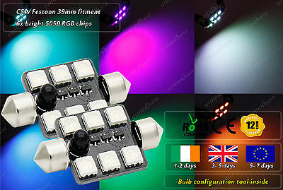 2x 39mm C5W 272 239 RGB Changeable Color LED License Plate Bulbs Interior Lights