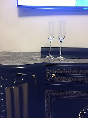 New Champagne Flutes With Swarovski Crystal Filled Stems Set Of 2 Pair Wedding G