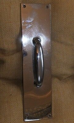 Vintage c1930s Yale Nickel Plated Brass Door Pull Heavy Door Hardware