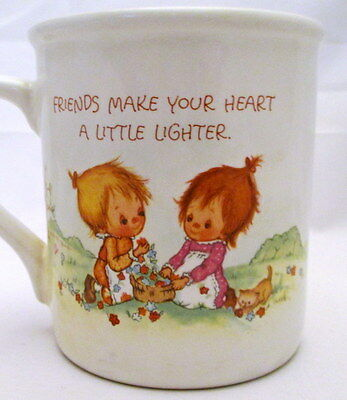 Hallmark 1983 Betsy Clark MUG Mates Cup Collect FRIENDS MAKE DAY BRIGHTER HEART