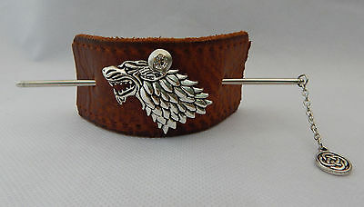 Brown Leather Wolf Hair Barrette w/ Hair Stick Accessories New Silver Fashion