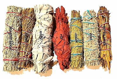 SET of 7 Sage Smudge Stick SAMPLER Yerba Santa, Red, White, DRAGON & Cedar SAVE
