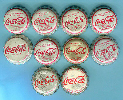 10-LOT of COCA COLA SODA BOTTLE CAPS   Each Cap is from DIFFERENT CITY & STATE