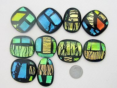 """Ty Handcrafted Fused Dichroic Glass Cabs """"artistic""""-Lot-(10)-New Year Sale"""