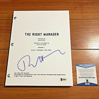 TOM HIDDLESTON SIGNED THE NIGHT MANAGER 65 PAGE PILOT SCRIPT w/ BECKETT BAS COA