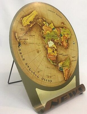Replogle Globes 1953 Air Age Map of the World Vintage News Display Tin