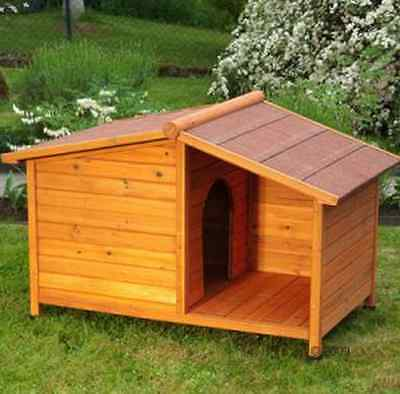 Wooden Dog Kennel Winter Warm Home House Weather Proof Shelter Outdoor Patio NEW