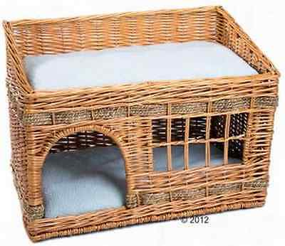 Woven Cat Den Kitten Wicker Basket Soft Pet Bed Cushions Two Floors Sleep Window