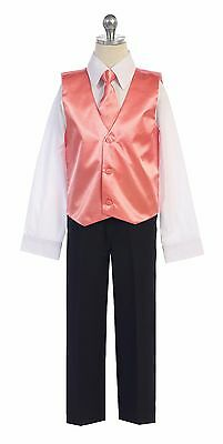 Boys Men Formal Satin Vest for Tuxedo Suit with Necktie  Made in USA Ships Fast