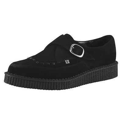 T.U.K. A8139 TUK Shoes Pointed Monk Buckle Brothel Creeper Black Suede Creepers