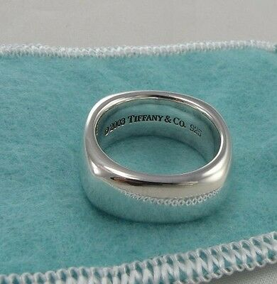 Size 7.5 Tiffany & Co Ring Sterling Silver 925 Square Cushion Band 7 1/2 w/ Bag