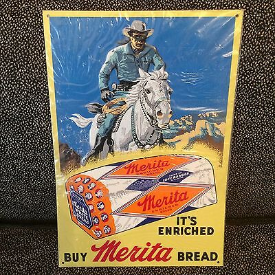 Vintage Merita Enriched Bread Tin Metal Sign With Lone Ranger On Horse
