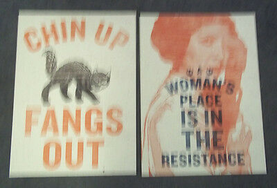 Set Of Four Posters From Women's March In Lansing, Michigan. Resistance , Fangs