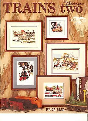 "Puckerbrush 1989 ""trains Two"" Counted Cross Stitch Booklet #pb26"