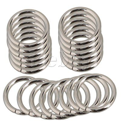 20 x Metal O Ring Non Welded Webbing Belts Buckle Strap Adjuster Silver 25mm Dia